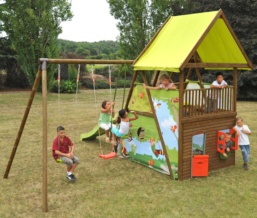 Parco giochi per bambini MAHORI con altalene, scivolo e casetta  youtoys.it